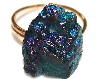 Peacock Ore Ring Purple Druzy Ring Drusy Ring Druzy Jewelry Sparkly Ring Raw Ring Gold FIlled Ring Boronite Ring Drussy Ring Peacock Ring