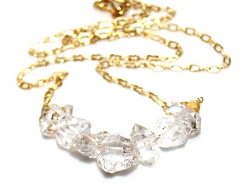 Chunky Necklace Herkimer Diamond Necklace Herkimer Jewelry Quartz Necklace Bar Necklace Statement Jewelry Herkimer Quartz Everyday Jewel