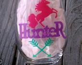 Lularoe Inspired Unicorn Hunter  Stemless Wine Glass Custom Wine Glass Gift Womens Tumblers