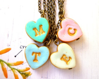 Tiny heart Girl Letter Necklace, 2, 3, 4, 5, 6, 7, 8, 9, 10 years old girl gift, Junior Bridesmaid