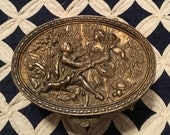 Vintage 1950s Heavy Brass Victorian Ornate Intricate Filigree Gold Tone Jewlery Box, Trinket Box, Hollywood Regency Style
