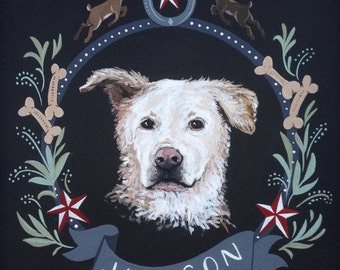 8x8 Dog Pet Portrait Hand Painted Sign : Artwork with Personalized Illustrations and Theme featuring Crest
