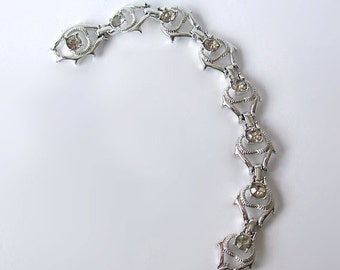 Vintage 1969 Sarah Coventry Bracelet Cool Surrender  grey Rhinestones silver tone