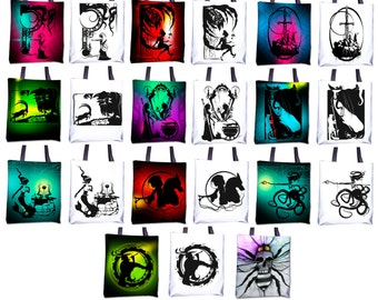 """Totes - Black and White or Color 15""""x15"""" - Featuring work from my original Fables & Fairy Tales hand cut paper art"""