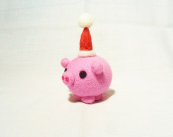 Needle Felted Christmas Pig - Christmas Ornament - 100% merino wool - needle felted pig - wool felt pig