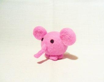 Needle Felted Pink Elephant -  miniature elephant figure - 100% merino wool - wool felt elephant - pink elephant