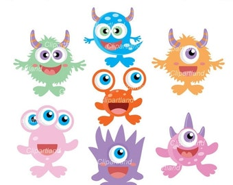 ON SALE INSTANT Download. Cm_19_Monsters. Cute monsters clip art. Personal and commercial use.