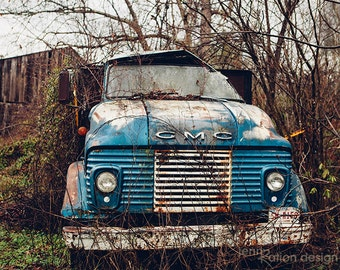 Old Truck Photo • Abandoned Truck • Rustic Truck • Classic Car • Country Artwork • Barn Find Photography • Nature Photo Fine Art Print
