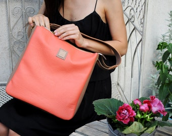 Coral leather handbag, Leather shoulder bag