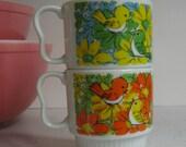 Vintage Japan Stackable Mugs - Good Morning Birds, Greeting Birds, Royal Sealy, Yellow, Orange