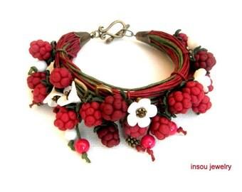 Red Bracelet,Handmade Bracelet,Wrap Bracelet,Boho Bracelet,Charm Bracelet,Spring Jewelry,Berry Jewelry,Gift For Her,Raspberry,Floral Fashion