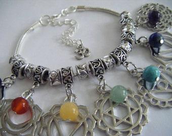 Spiritual Inspirational Healing Chakra Symbol Bracelet Wellness Oneness Cosmic Gemstone Eco Beads OM Charm Yoga Meditation Universe Love