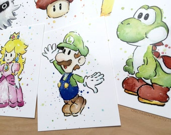 Mario Cards Nintendo Watercolor Painting Post Cards, Nintendo Art Mario Cards Watercolor Mario Video Game Art, High Quality Images Set of 13