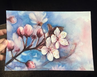 Cherry Blossoms Watercolor Painting 7x10, Spring Flowers, Pink Flowers, Floral Art, Cherry Blossom Art