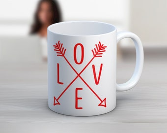LOVE Arrows // Aztec // 11 oz or 15 oz Coffee Mug