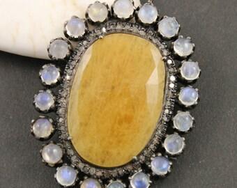 Pave Diamond Pendant, Pave Sapphire Rainbow Moonstone Pendant, Pave Rose Cut Saphhire, Pave Saphhire with moonstone .(DCH/PDT/848))