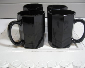 Vintage Coffee Mugs, Black Arcoroc Octime Mugs, Vintage Modern, Retro
