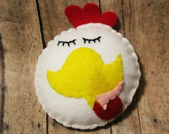 Felt chicken ornament-Handmade felt chicken-Chicken decor-Country decor-Farmhouse decor-Rooster-Christmas ornament
