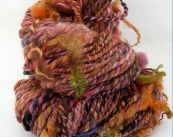 Handspun Textured 2 Ply Yarn, Lock Yarn, Pink, Orange and Black