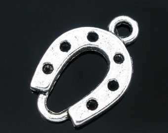 5 Pieces Antique Silver Horseshoes Charms