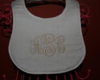 Personalized Babies Cotton Bib Ivory Embroider Monogram
