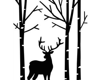 DEER in FOREST - BIRCH TREEs EMBOSsING FoLDeR - A2  - Thin Trees  Deer