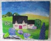 textile art flower garden, felt art, fiber art, felt painting, flower garden, 16 x 20 inches