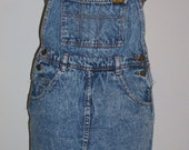 Free shipping! 80's  CPS acid wash denim overall skirt womens small