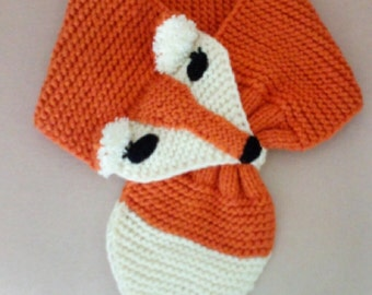 Hand Knit FOX Scarf / neck warmer for Kids or Audlt/Knit Fox Scarf /Novelty Animal Keyhole Scarf/Original Design/Adjustable