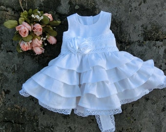 White baby dress, Christening dress. Baby dress for wedding. White baby flower girl dress, girls baptism dress. Rustic baby lace dress,