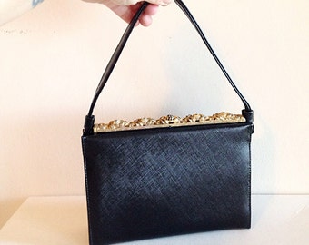 Vintage 1950s Mid Century Evening Bag with Fancy Gold Details Mad Men Rockabilly