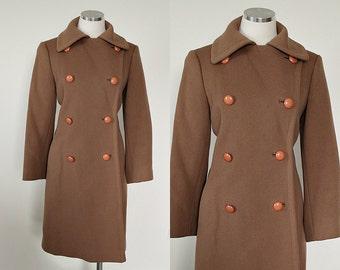 1940s Vintage   Khaki Tan 100% Wool Mid-Century Modern Military Style Double Breasted Overcoat Jacket    size Medium/Large
