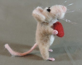 """Needle felted Valentines mouse, 3"""" tall,  art doll, tan color mouse with red heart"""