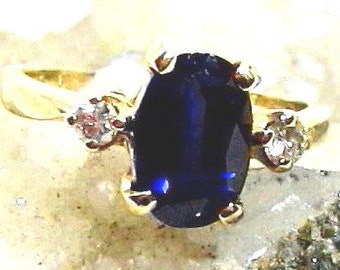 9x7 Vintage Sapphire Ring, Diamond Ring 14 Kt Gold 3 stones 7.5tcw Size 5, 2.5ct