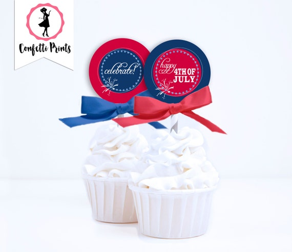 Fourth Of July Cupcake Toppers | 4th Of July Cupcake Topper | Fourth Of July Decor | July 4th | Patriotic -  FIREWORKS Printable