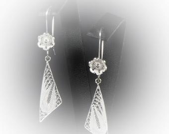 Earrings in silver embroidery Bermuda triangle