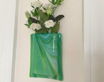 Fused Glass Pocket Vase, Blue Green Swirly Glass Wall Vase, Home Decor