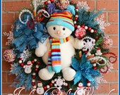Teal Sweetie Pie Snowman Christmas Wreath, Large, Prelit, Candy, Cookie, red, green, turquoise, lollipop
