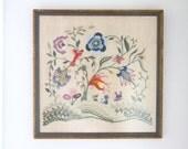 Vintage Jacobean Style Crewel Work Fiber Art Linen Framed Glass Picture Square Handmade Colorful Flowers Birds Nature