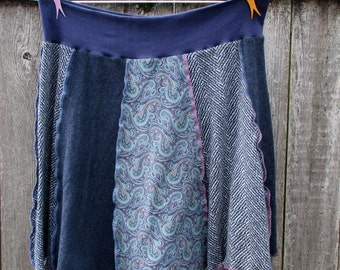 T Shirt Skirt Recycled Upcycled Skirt Blue Paisley Lilac Tshirts Large Plus Skirt OOAK ThankfulRose