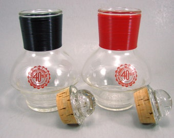 2 McKee Hottles, Glasbake Individual Coffee Carafe, Vintage Advertising, LeValley McLeod 1954 40th Anniversary, Red and Black Hottles