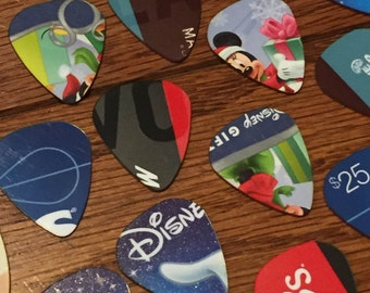 NEW Set of 5 assorted guitar picks made from upcycled plastic cards