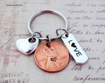 Love Penny Keychain, Heart Charm Lucky Penny, Love Tag Keychain