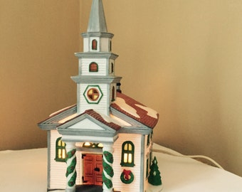Arlington Falls Church Dept 56 New England Village Hand painted Porcelain Church