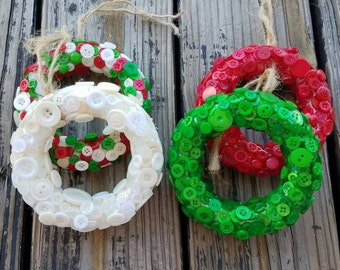 Christmas Ornaments, Holiday Ornaments, Button Wreath Ornaments, Set Of 4 Christmas Tree Ornaments