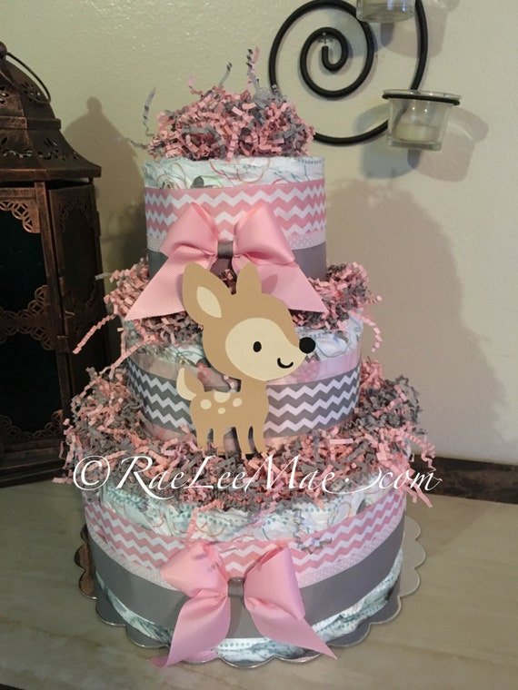 Fawn Baby Deer Three Tier Diaper Cake Baby Girl Pink And Grey