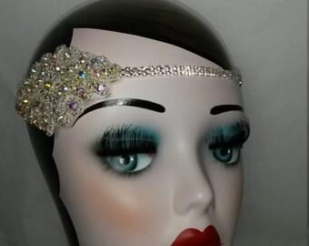 Charleston Flapper 1920s Great Gatsby fancy dress ladies bridal wedding headband headdress headpiece