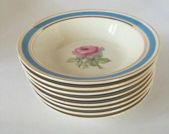 Vintage Taylor Smith Berry/Fruit/Dessert Bowls set 8 Blue & Gold Rim / Shabby Chic China Bowls Rose Pattern