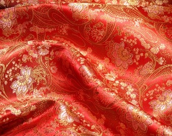 Chinese brocade fabric in rich red with a floral pattern in gold and silver, 1 yard of red brocade with silver and gold, red fabric - 1 yd.
