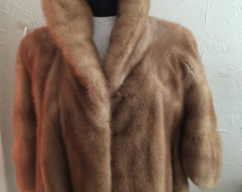 Vintage real fur short cape with pockets fully lined